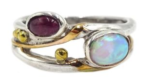 Silver and 14ct gold wire ruby and opal ring, stamped 925