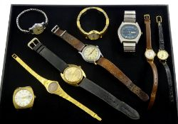 Collection of wristwatches including Bulova stainless steel, with blue dial and day-date aperture, T