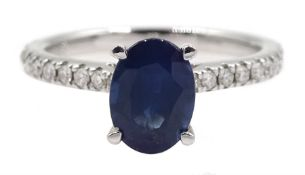 18ct white gold oval sapphire ring, with diamond set shoulders hallmarked, sapphire approx 1.35 cara
