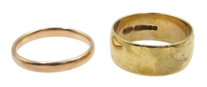 Two 9ct gold wedding bands hallmarked, approx 7.6gm