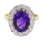 18ct gold amethyst and diamond cluster ring, hallmarked