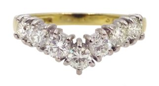 18ct gold seven stone round brilliant cut diamond wishbone ring, London 1997, total diamond weight a