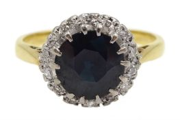 Gold sapphire and diamond cluster ring, stamped 18ct