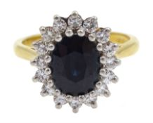 18ct gold sapphire and diamond cluster ring, hallmarked