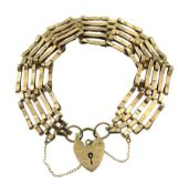 9ct gold five bar link bracelet, with heart locket clasp hallmarked, approx 11.7gm