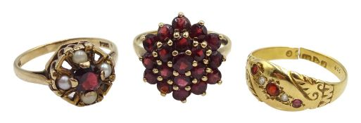 Edwardian 18ct gold five stone garnet and stone set ring, Chester 1906, 9ct gold garnet and pearl ri