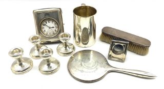Silver challenge mug with inscription H12cm London 1899, large pocket watch in silver travelling cas