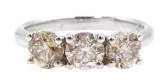 18ct white gold round brilliant cut three stone diamond ring, hallmarked, total diamond weight appro
