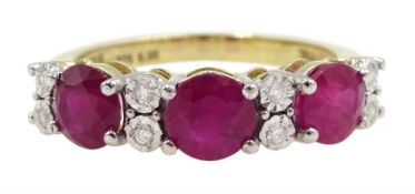 9ct gold round ruby and diamond ring, stamped 375, total ruby weight approx 2.10 carat
