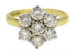 18ct gold seven stone round brilliant cut diamond cluster ring, London 1996, total diamond weight ap