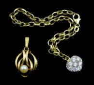 Gold cubic zirconia heart bracelet and gold pearl pendant, both 9ct stamped or hallmarked