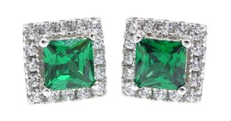 Pair of silver green stone and cubic zirconia dress stud earrings, stamped 925