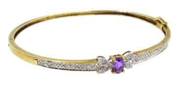 9ct gold amethyst and diamond hinged bangle, hallmarked