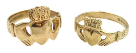 Two 9ct gold Irish Claddagh rings, Dublin 1976/78, approx 6.2gm
