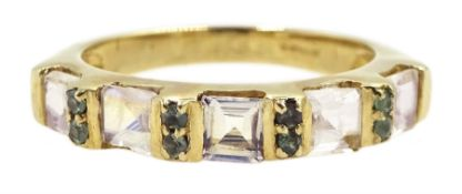 9ct gold emerald and moonstone ring, hallmarked