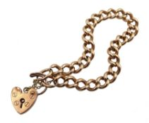 9ct rose gold curb chain bracelet with heart locket hallmarked, each link stamped 9 375, approx 19.2