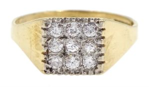 9ct gold cubic zirconia square design ring, hallmarked