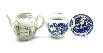 Group of 18th century porcelain comprising a Worcester Fisherman pattern saucer, Fence pattern teapo
