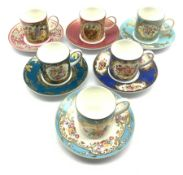 Set of six 'Coalport Celebration Collection' coffee cups & saucers each decorated with individual pa