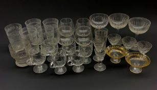 Collection of 19th century and later glassware including three faceted champagne bowls, two engraved