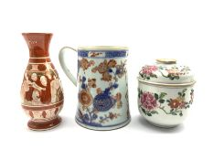 19th/ early 20th century Chinese Imari tankard H15.5cm, 19th century Chinese jar and cover decorated