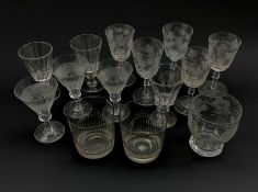 Collection of 19th century drinking glasses including a set of three hobnail banded wine glasses, pa