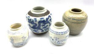 19th Century Chinese blue and white crackle glaze ginger jar H14cm, Chinese glazed stoneware ginger