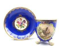 19th century Meissen cabinet cup and saucer, the cup painted in the manner of Wouwerman with a pasto