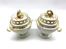 Pair Chamberlain Worcester sauce tureens and covers, the lid with pierced gallery and gilded dolphin