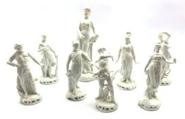 Set of seven Naples Blanc de Chine figures depicting classical gods and goddesses, together with a 1