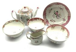 18th century Newhall teapot of lobed oval design decorated with floral sprays Patt. 748, Newhall cre