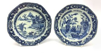 Two Chinese Export blue and white dishes of octagonal form, painted with balcony and landscape scene