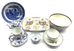 Continental inkstand painted with floral sprays, painted marks for Dresden and impressed Meissen, L2