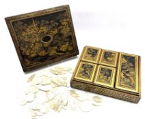 19th century Chinese black lacquer and gilt games box, of rectangular form, the body decorated with