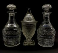 Regency cut glass sweetmeat jar and cover, hobnail cut body, domed cover on terraced square foot H25