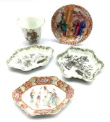 Chinese porcelain 'Wu Shuang Pu' cup, 18th century Chinese Export saucer and three other 18th centu