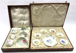 Cased set of three Meissen hand-painted cups and saucers together with similar boxed sweetmeat dishe