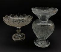 Large Waterford crystal pedestal vase with scalloped rim, H30.5cm and a cut glass bowl centrepiece (