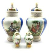 Pair of Continental Helena Wolfsohn style vases and covers H29cm together with a pair of similar sty