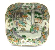 18th century Cantonese famille verte shaped dish enamelled and gilded with courtesans around a digni