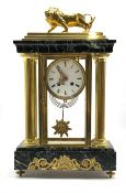 Late 19th century Empire design four glass, brass and marble mantel clock, surmounted by brass lion,