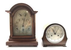 German walnut cased mantel clock by Kienzle, silvered dial with Arabic chapter ring, Westminster chi