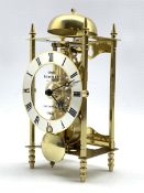 Sewills of Liverpool brass skeleton lantern clock, 30 hour movement with passing strike, silvered di