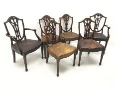 Set six early 20th century Sheraton revival dining chairs, shield shaped back with serpentine bead c
