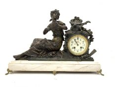Late Victorian figural spelter mantle clock signed Mourey, white enamel dial with Arabic chapter rin