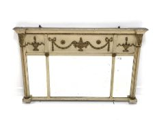 Regency white painted over mantel mirror, decorated with gilt painted leaves, urns and swags, with t