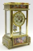 Late 19th century onyx and gilt metal four glass mantel clock, Sevres hand painted porcelain panels
