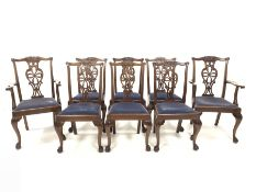 Set eight (6+2) Georgian style mahogany dining chairs, with floral carved cresting rail over pierced