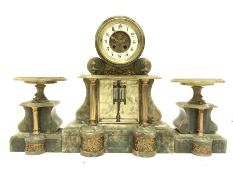 Large Victorian onyx garniture, comprising of clock with white enamel dial and Arabic chapter ring,