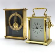 Rapport of London four glass sticking carriage clock, together with a Keiser desk clock, mechanical